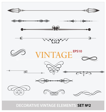 Vintage elements sign and borders set