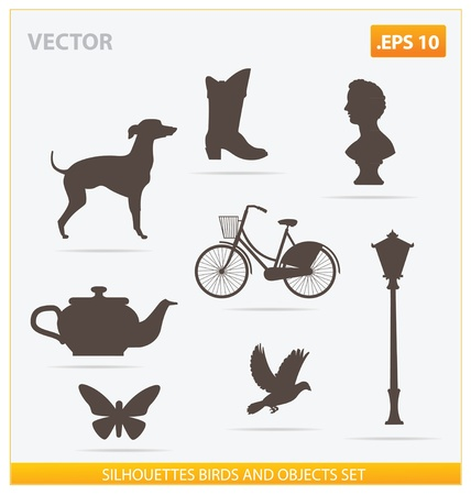 silhouettes birds and objects set Stock Vector - 14505371