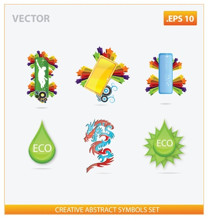 abstract design and creative eco sign set Vector