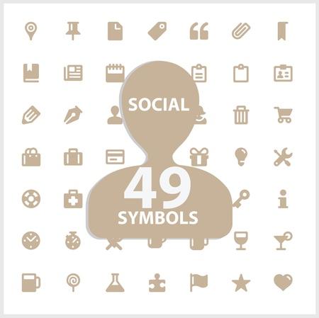 Web and social symbols set Vector