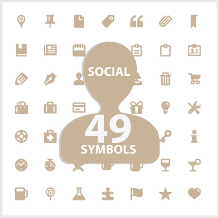 toolbar: Web and social symbols set Illustration