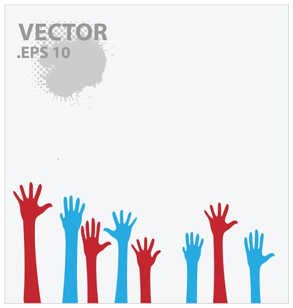 diverse business team: blue and red hands illustration