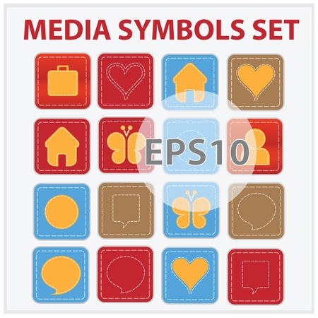 Web and media buttons collection with media