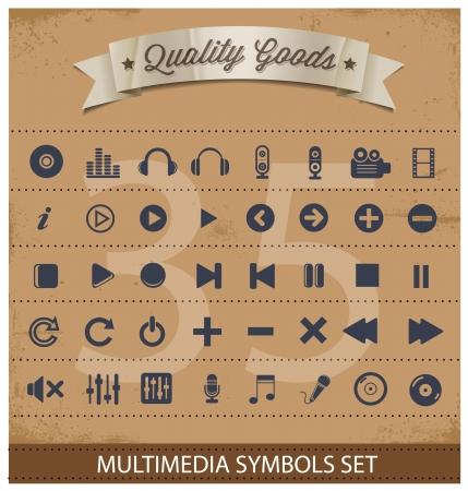 pictogram multimedia symbolen instellen Stock Illustratie