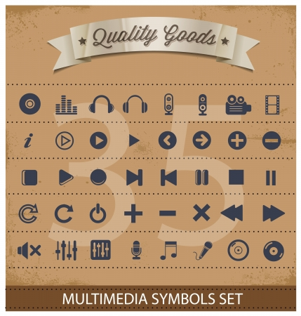 pictogram multimedia symbols set Vector