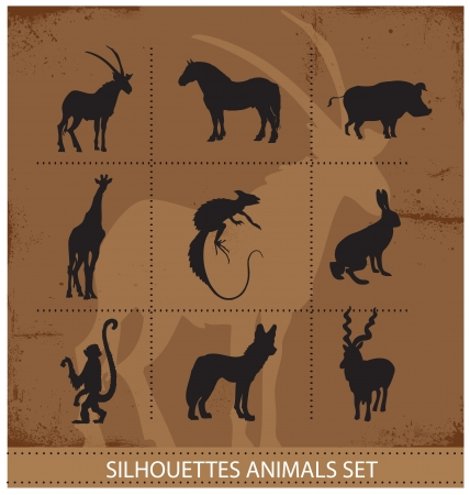 abstract symbols of animals silhouette Vector