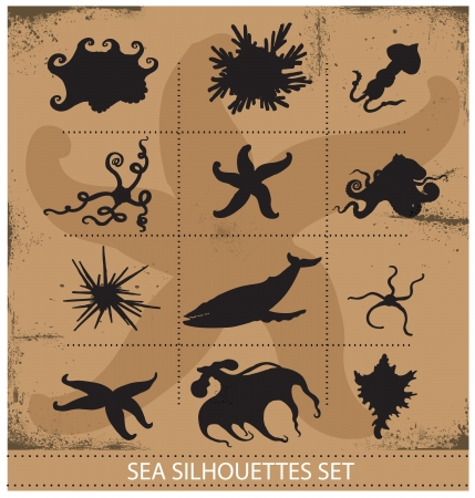 Sea animals silhouettes underwater symbols set Vector