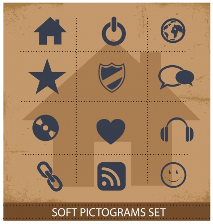 Web software pictogram symbols set isolated Vector