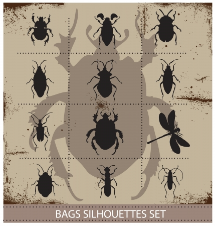 loathsome: Insect and bags silhouettes sign black color