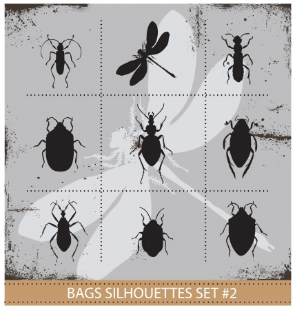 loathsome: Insect silhouettes sign set black color