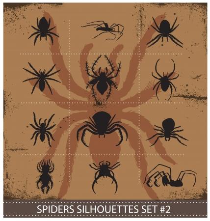 latrodectus: halloween spiders silhouettes symbols set Illustration