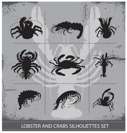 plaice: lobsters vector silhouettes signs set isolated