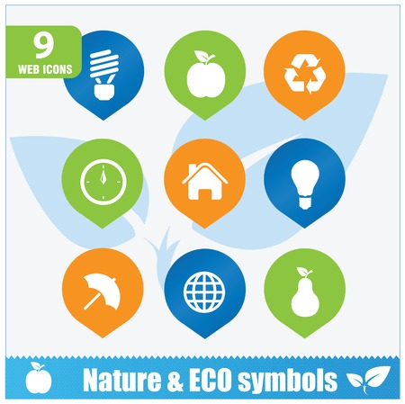 Nature ecology symbols set isolated Vector