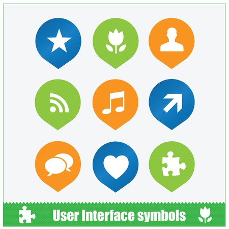 User interface symbols set pins web flat style