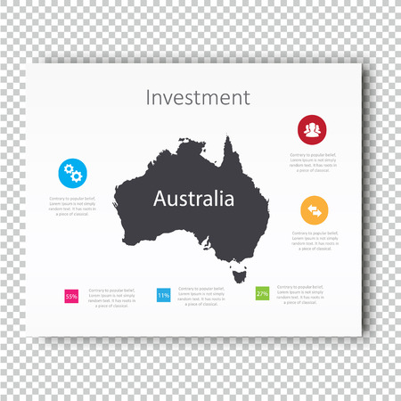 Infographic Investment dia van Australië Kaart Presentatie sjabloon, zaken Layout ontwerp, Moderne stijl, Vector ontwerp illustratie.
