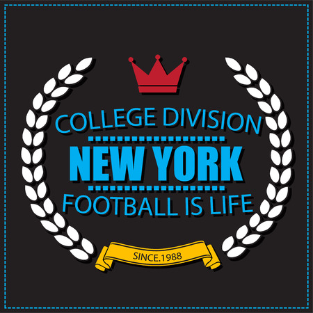college football: Sport athletic New york champions college football logo emblem. Vector Graphics and typography t-shirt design for apparel. Very easy to use. Light version.