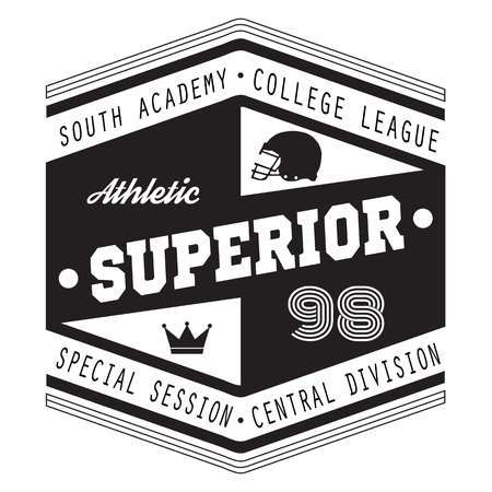superior: Sport Athletic Superior College Vector Graphics and typography t-shirt design for apparel