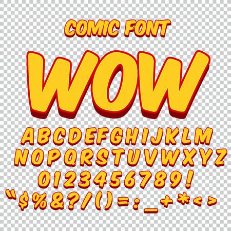 wow: Alfabeto conjunto cómico. Versión en color oro. Letras, números y figuras para niños.