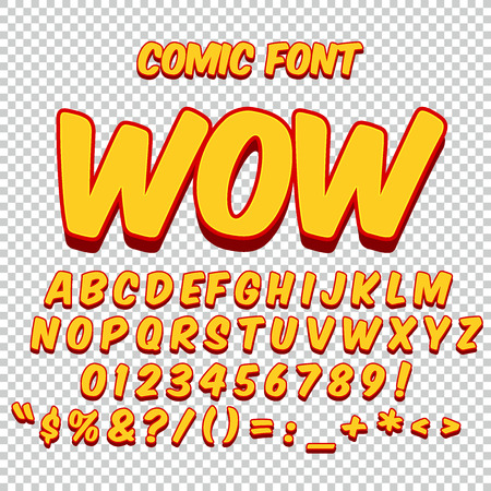 comic characters: Comic alphabet set. Gold color version. Letters, numbers and figures for kids.