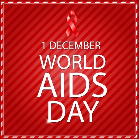 aids awareness: World Aids Day concept with text and red ribbon of aids awareness. Editable - very easy to use.
