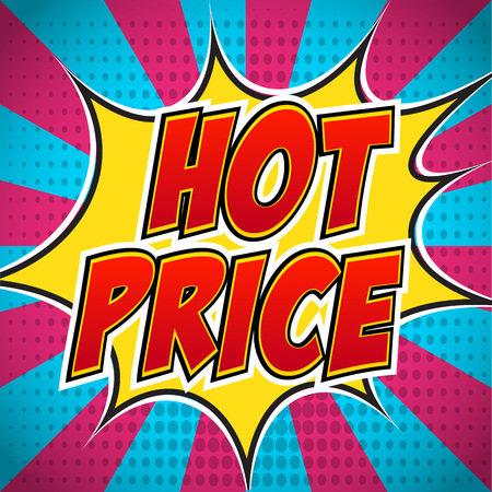 wow: Comic book banner explosion with text Hot Price. Design for your banner flyer pop art discount promotion.