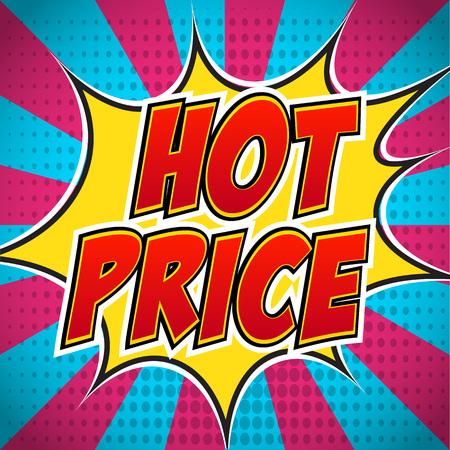 wow: explosión cómica pancarta con el texto del libro precio caliente. Diseño para su volante bandera promoción del arte pop de descuento. Vectores