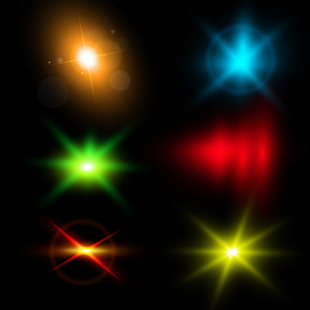 Realistic lens flares beams and flashes. Isolated. Editable - very easy to use. Illustration