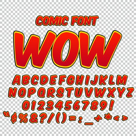 Alfabet te stellen. Comic pop art stijl. Rode kleur versie. Letters, cijfers en cijfers voor de kinderen 'illustraties, websites, comics, banners.