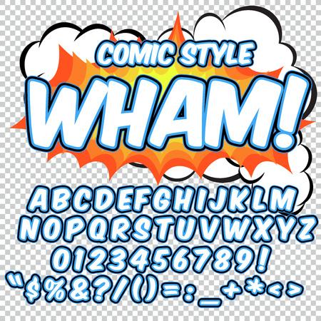 wow: alfabeto conjunto cómico. versión de color azul y blanco. Letras, números y figuras para los niños ilustraciones, sitios web, cómics, banners. Vectores