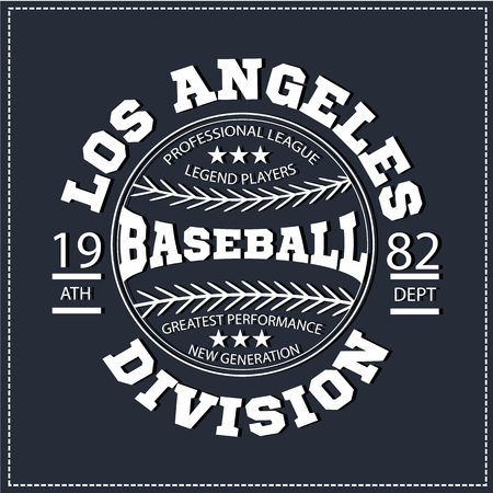 varsity: College Los angeles varsity division sport baseball america typography, t-shirt graphics. White color version. Very easy to use for apparel. Illustration