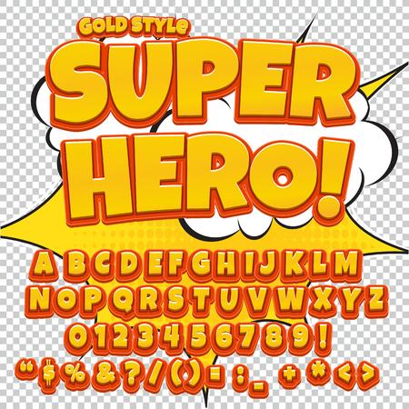 Comic Gelb Alphabet Gesetzt Buchstaben Zahlen Und Fakten Für