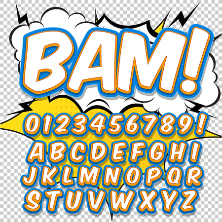Alphabet collection set. Comic pop art style. Light color version. Letters, numbers and figures for kids illustrations, websites, comics, banners. Ilustração