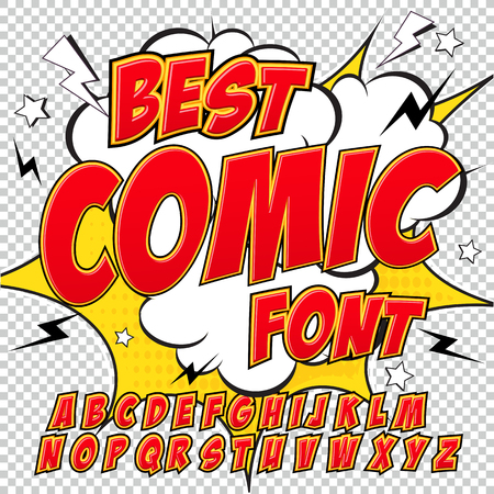 Creative high detail comic font. Alphabet in the red style of comics, pop art. Letters and figures for decoration of kids illustrations, websites, posters, comics and banners.