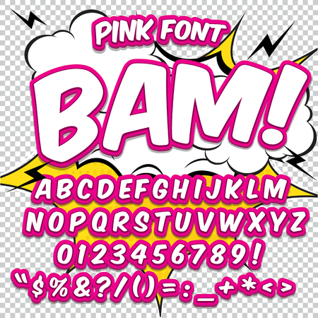 Creative high detail comic font. Alphabet in the style of comics, pop art. Letters and figures for decoration of kids illustrations, websites, posters, comics and banners.
