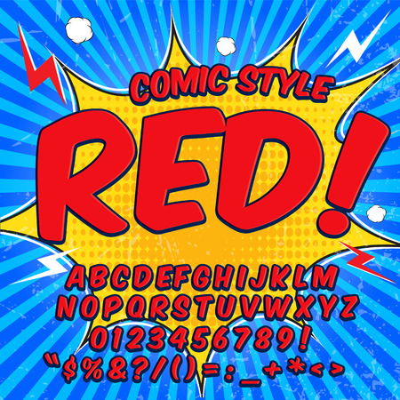 onomatopoeia: Alphabet collection set. Comic pop art style. Light red and blue color version. Letters, numbers and figures for kids illustrations, websites, comics, banners.