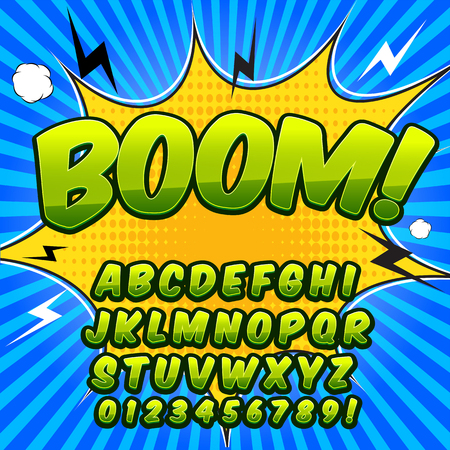 onomatopoeia: Comic alphabet set. Green color version. Letters, numbers and figures for kids illustrations websites comics banners.