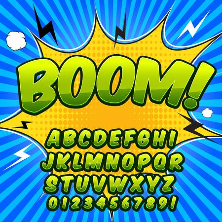Comic alphabet set. Groene kleurenversie. Letters, cijfers en cijfers voor illustraties voor kinderen websites comics banners.