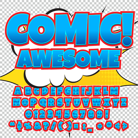 onomatopoeia: Comic alphabet set. Light blue color version. Letters, numbers and figures for kids illustrations, websites, comics, banners.