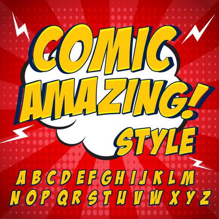 Comic retro gele alfabet set. Letters, cijfers en cijfers voor de kinderen 'illustraties, websites, comics, banners.