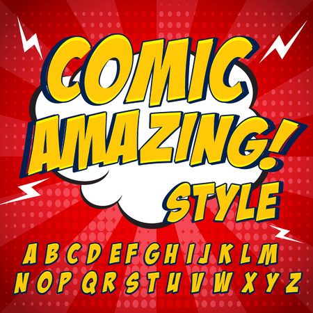 Comic retro yellow alphabet set. Letters, numbers and figures for kids' illustrations, websites, comics, banners. Ilustração