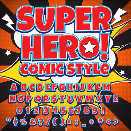 high detail: Creative high detail comic font. Alphabet in the style of comics, pop art. Letters and figures for decoration of kids illustrations, websites, posters, comics and banners.