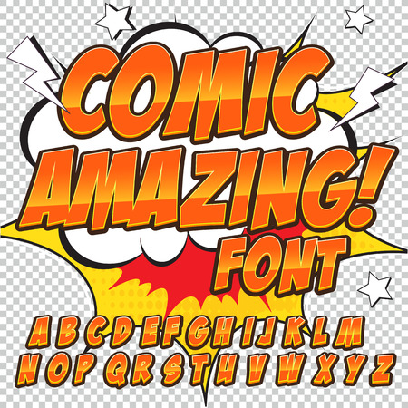 onomatopoeia: Creative high detail comic font. Alphabet in the style of comics, pop art. Letters and figures for decoration of kids illustrations, comics and banners. Easy to use for works.