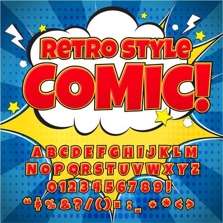 Comic retro alfabet set. Rode kleur versie. Letters, cijfers en cijfers voor de kinderen 'illustraties, websites, comics, banners.