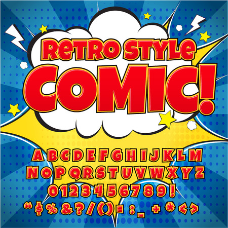 Comic retro alphabet set. Red color version. Letters, numbers and figures for kids illustrations, websites, comics, banners.
