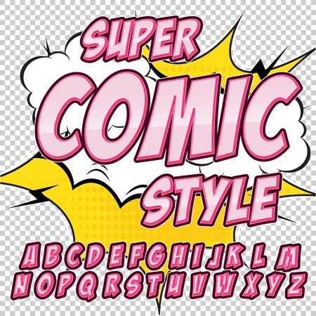 onomatopoeia: Alphabet in the style of comics, pop art. Letters and figures for decoration of kids illustrations, websites, posters, comics and banners.