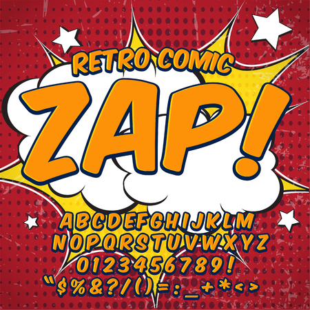 Comic retro alphabet set. Yellow color version. Letters, numbers and figures for kids' illustrations, websites, comics, banners.