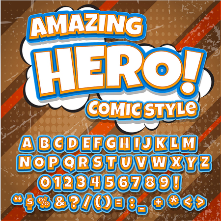 Creative high detail comic font. Blue color hero style of comics, pop art. Letters and figures for decoration of kids illustrations, websites, posters, comics and banners.