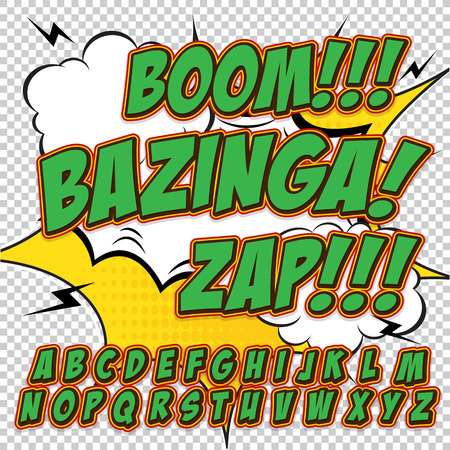 onomatopoeia: Alphabet in green color style of comics, pop art. Letters and figures for decoration of kids illustrations, websites, comics and banners. Easy to use and edit.