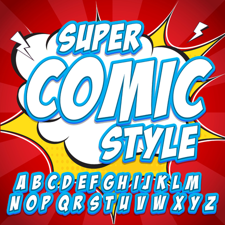 Creative high detail comic font. Alphabet in the blue style of comics, pop art. Letters and figures for decoration of kids illustrations, websites, posters, comics and banners.