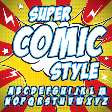 clash: Creative high detail comic font. Alphabet in the style of comics, pop art. Letters and figures for decoration of kids. Illustration